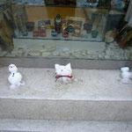 子供達が作った雪だるま。お店のディスプレイとマッチしていてかわいい!