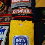 ペルー名物のインカ・コーラ(という飲み物があります)Tシャツ。