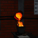 壷の中にどろどろに溶けた金が入っています。これは金を型に流し込む作業です。