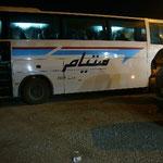 夜行バスで砂漠の町の入り口リッサニを目指します。