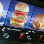 インド名物=チキン・マハラジャ・マック。インドのマクドナルドに牛肉はありません。