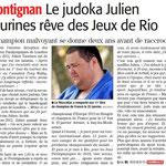 17 Février 2014 (Midi Libre): Julien Taurines, Objectif RIO
