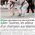 21 Février 2016 (Midi Libre - Région): Julien Taurines, fin de carrière