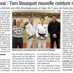 02 Mars 2013 (Midi Libre): Ceinture Noire pour Tom Bousquet