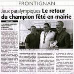 21 Septembre 2008 (Midi Libre): Julien Taurines, Réception en Mairie de Frontignan