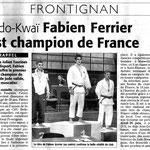 21 Juin 2009 (Midi Libre): Fabien Ferrier est champion de France