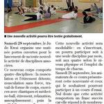 25 Septembre 2013 (Midi Libre): Nouveauté au JKF et Portes ouvertes