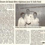 23 Avril 2012 (Midi Libre): Encore de beaux titres régionaux au Judo Kwai