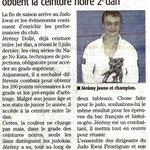 04 Juillet 2012 (Midi Libre): Jérémy Dollé obtient la ceinture noire 2ème Dan