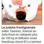 04 Décembre 2015 (Midi Libre): Julien Taurines au Championnat d'Europe Handisport de Judo