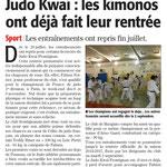 10 Août 2014 (Midi Libre): Reprise estivale au JKF