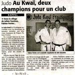 03 Juillet 2009 (Midi Libre): Au Kwaï, deux champions pour un Club