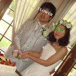結婚式ケーキ入刀 花冠