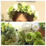 アーティフィシャルフラワー花冠 白グリーン