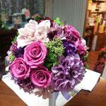 紫ラウンドブーケ アーティフィシャルフラワー 刈谷市