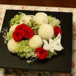 和装用リングピロー ピンポンマム、赤バラ、デンファレ