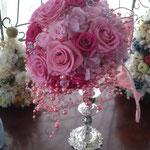 ピンク濃淡エレガントなラウンドブーケ ドレスショップ納品