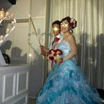 水色のカラードレス 披露宴