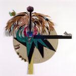 """""""Vita"""" 2002, 104 cm x 104 cm, Collage verschiedene Materialien auf Karton"""