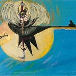 """Aus der Serie """"Vita"""", 2002, 118 cm x 126,5 cm, Collage, Ölfarbe , Artischockenblätter auf Papier"""