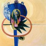 """Aus der Serie """"Vita"""", 2002, 118 cm x 113 cm, Collage, Öl, Papier auf Papier"""