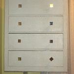 Dopo:Settimino SQUADRO, superficie texture, pomellini in alluminio e specchio,base alluminio;pezzo unico, 2013