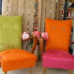 Refurbished pair of small armchair