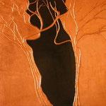 Tavola cm. 50x50; lacca nera e foglia di rame, tecnica tradizionale della pastiglia; 2004