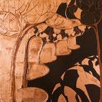 Tavola cm.55x55; lacca bruna e foglia di rame, tecnica tradizionale della pastiglia, 2004