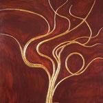 Tavola cm. 55x55; lacca rossa e foglia d'oro, tecnica tradizionale della pastiglia; 2004