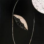 Tavola cm. 55x55; lacca nera e foglia d'argento, tecnica tradizionale della pastiglia; 2004