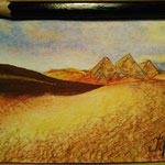 "The Pyramids, Egypt. ""Travel"" series ACEO card. Painted in December 2016."