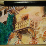 "Balcony of Juliet's house (Casa di Giullietta), Verona, Italy. ""Travel"" series ACEO card. Painted in September 2016."