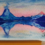"Alps. Painted for my friend Olga. ""Travel"" series ACEO card. November 2016."