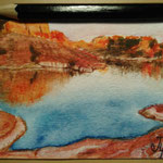 "Lake Powell, UT, USA. ""Travel"" series ACEO card. Painted in February 2017."