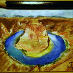 "Horseshoe Bend, AZ, USA. ""Travel"" series ACEO card. Painted in February 2017."