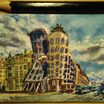 "The Dancing House, Prague, Chezh Republic. ""Travel"" series ACEO card. Painted in December 2016."