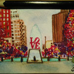 "Love park, Philadelphia, PA, USA. ""Travel"" series ACEO card. Painted in January 2016."