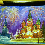 "Red Square, Moscow, Russia. ""Travel"" series ACEO card. Painted in December 2016."