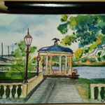 "Art Museum Gazebo, Philadelphia, PA, USA. ""Travel"" series ACEO card. Painted in December 2016."