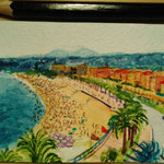 "Nice, France. ""Travel"" series ACEO card. Painted in January 2017."
