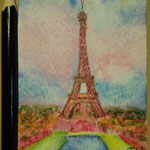 "Eiffel Tower, Paris, France. ""Travel"" series ACEO card. Painted in January 2017."