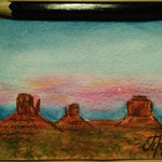 "Monument Valley, UT, USA. ""Travel"" series ACEO card. Painted in February 2017."