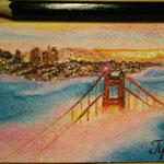 "Golden Gates Bridge, San Francisco, CA, USA. ""Travel"" series ACEO card. Painted in January 2017."