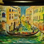 "Venice, Italy. ""Travel"" series ACEO card. Painted in January 2017."