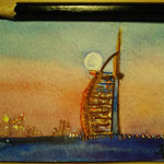 "Burj Al Arab, Dubai, UAE. ""Travel"" series ACEO card. Painted in January 2016."