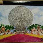 "Epcot, Orlando, FL, USA. ""Travel"" series ACEO card. Painted in January 2017."
