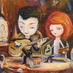 """""""Nikos Zournis +Lamprini Karakosta+Band""""  29x28 cm Acryl auf  Holz"""
