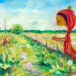 """""""Im Feld des Friedens""""  / 34x24 cm  Öl auf Papier"""