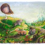"""Erste Sonnenstrahlen""  / 23x16 cm  Acryl auf Holzbrett"